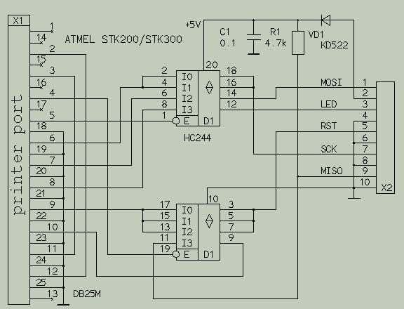В качестве D1 (шинный формирователь) используется следующая микросхема: 74HC244 (аналог 1564АП5).